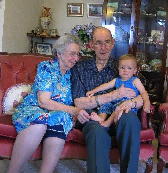Louis with his Great Grandparents, January 2012