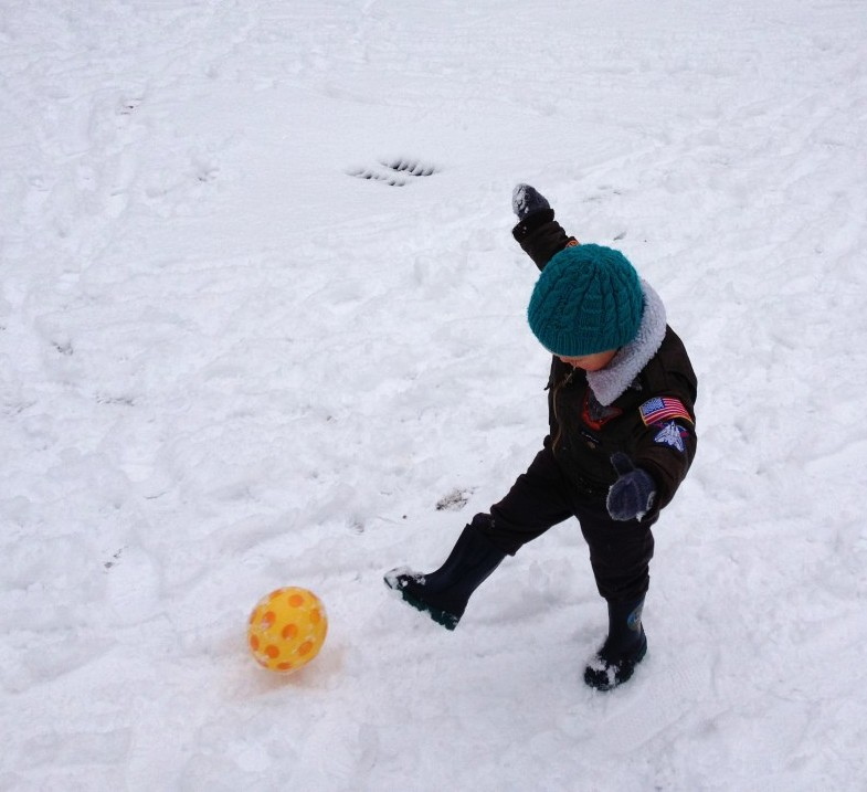 soccer in the snow