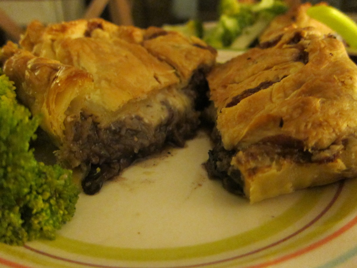 mushroom, red wine, mince and cheese pies