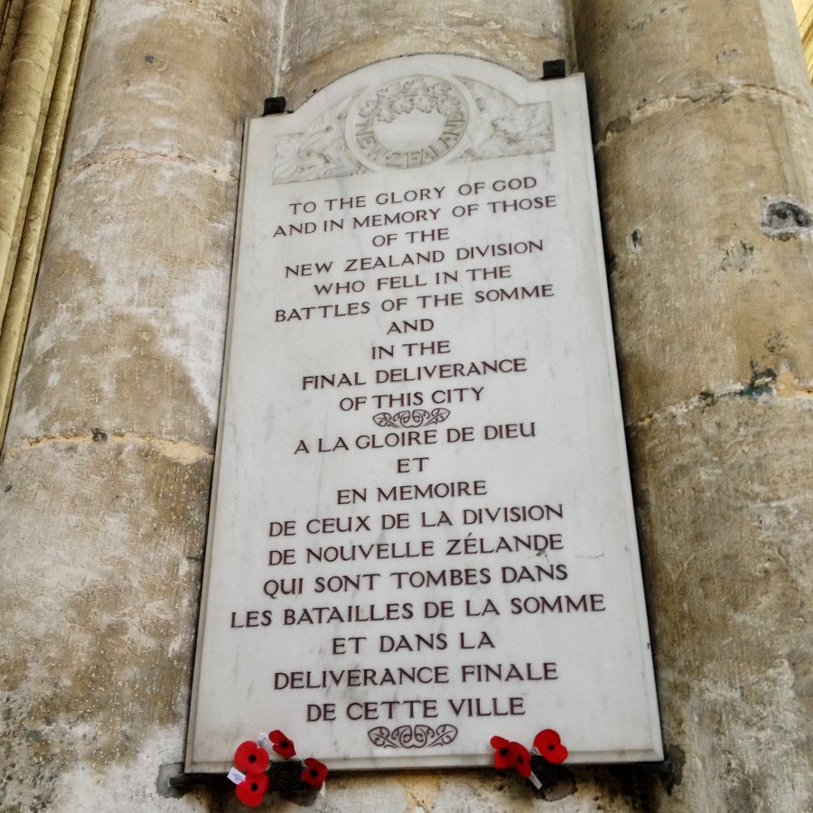Memorial plaque to NZ services, Amiens Cathedral