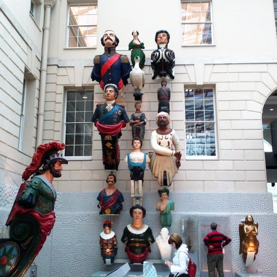 strange collection of figureheads