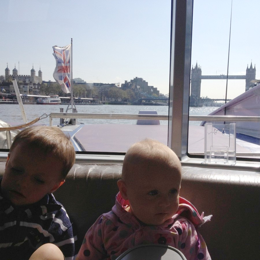 Louis and Elena on the Thames Ferry