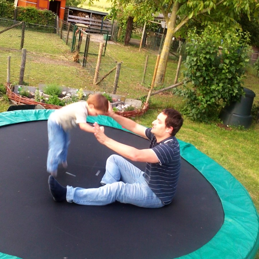 trampolining with dad