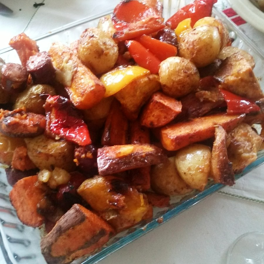 christmas dinner: roast veg