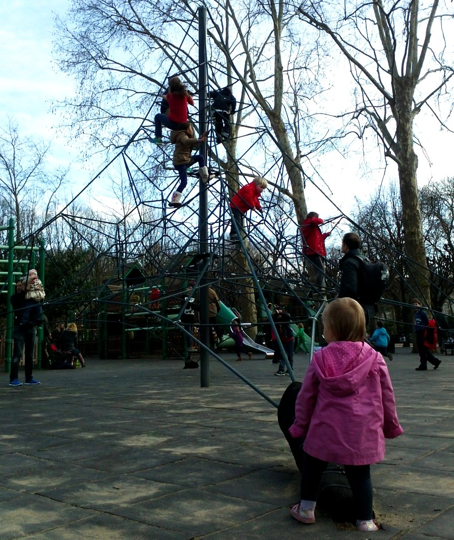 ready to climb the eiffel tower, at luxembourg gardens